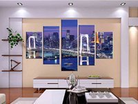 Wholesale 5 Piece Hot Sell Modern Home Decorative Art Picture Paint on Canvas Prints Bright and charming night downtown New York Brooklyn Bridge