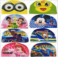 Wholesale Children swimming cap Cartoon printed cloth cap Huang Mickey Mouse angry birds swim cap