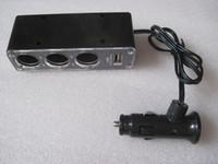 Wholesale 3 Way Triple Car Cigarette Lighter V V Auto Socket Splitter Charger USB DC V A for GPS PDA Cell Phone Car Power Adapter