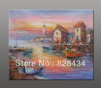 art dock - with of hand painted wall art oil painting canvas docks ship size x24 of modern home decoration