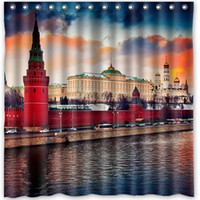 Wholesale Custom Russia Moscow Rivers Sky Cities Fans Printed Size cmx180cm Waterproof Polyester Shower Curtain