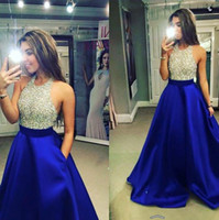 halter tops - 2016 New Royal blue Satin Prom Dresses Halter Beaded Top A Line Floor Length Party Evening Dresses