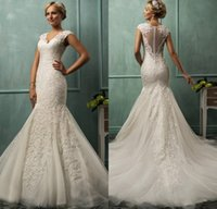 Cheap Elegant Lace Mermaid Amelia Sposa Wedding Dresses Sheer Backless Applique V-Neck Bridal Gowns Ruched Court Train 2015 Top Quality