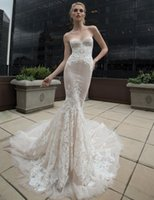 Wholesale 2016 Ivory Wedding Dresses Inbal Dror Champagne Organza Lace mermaid Bridal Gowns Sexy Corset Tops Trumpet Dress with Embroidered Flower