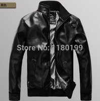 Men O-Neck Short 2014 new Arrival European style Stand-collar Men's Slim PU machine Fashion Motocycle Casual wagon jacket Free Shipping Y0258
