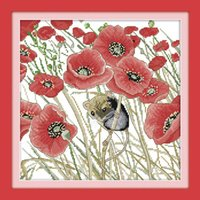 and decoration - DIY Home Decoration Poppies and Mouse Pattern Cross Stitching CT Handmade Needlework Counted Cross Stitch Set Embroidery Kit H15072