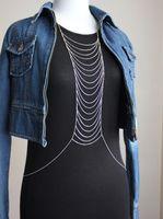 women's T-shirts - 12pcs Punk Style Body Chain Multi Layer Design Woman s Dress T shirt Bikini Adornment Jewelry Chain H926