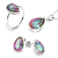 Wholesale Hot Women s Pear ct Genuine Gem Stone Rainbow Mystic Topaz Pendant Ring Earring Set Solid Pure Sterling Silver
