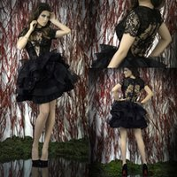 Cheap Free Shipping Discount Sexy Floral Skirt Black See Through Short Sleeve Sheer Short Mini Lace Prom Dresses Evening Gowns