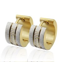 Wholesale n041 Sparkling Stainless Steel Mens Hoop Earrings Silver Gold For Christmas Birthday Party Jewlery Gifts
