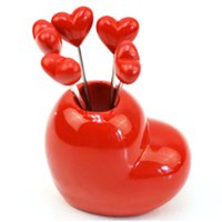 Wholesale 2014 New Arrival design stainless steel love heart shape fruit fork cutlery Set set