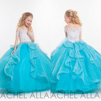 little girls beautiful dresses - 2015 Beautiful Puffy Ball Gown Girls Pageant Dresses White and Blue Floor Length Lace Tulle Little Girls Prom Pageant Dresses EA0165