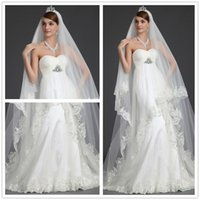Wholesale Charming Two Layers Bridal Veils Cathedral Length Wedding Veil With Sequins And Lace Applique Edge White Or Ivory Veils For Bride