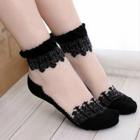 Wholesale New Colors Fashion Ultrathin Transparent Beautiful Crystal Lace Elastic Short Socks