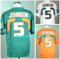 andre johnson miami jersey - Factory Outlet Miami Hurricanes Jersey Andre Johnson Jersey White Green Orange Stitched College Football Jersey Size M XL