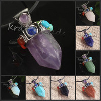 Wholesale mixture Charm Pendulum Gemstone Bead Reiki Healing Point Chakra opal Hexagon Pendant For Necklace
