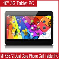 Wholesale 10 inch WCDMA G Phone Call tablet pc G GB MTK6572 Dual Core Ghz android phone call GPS bluetooth Wifi Dual Camera Dual SIM Card