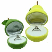 Wholesale New Fashion Cute Pear Shape Rings Boxes Velvet Jewellery Display Cufflinks Jewelry Storage Yellow Case Holder Hot Sale