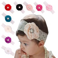 Wholesale Baby Infant Flower Pearl Headbands Girl Lace Headwear Kids Photography Props NewBorn Bow Hair Accessories Baby Hair bands