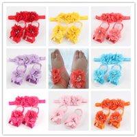 barefoot suits - 2015 color CM Chiffon diamond flower hair band foot flower suit P foot flower P hair band baby Barefoot Sandals Foot Flower Foot