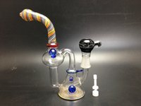 ceramic balls - Heady Glass Recycler oil rig water pipes bong with decrative balls mm domeless ceramic nail carb cap hot seller for head shop smokeshop