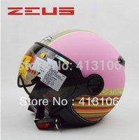 Revisiones Visera extraíble casco-Al por mayor-ZEUS casco 210C Rosa MOMO de la motocicleta, envío libre, almohadillas de verificación extraíble y lavable, visera extraíble, aprobado ECE