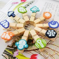 Wholesale Sets Cartoon Kawaii Wooden Office Clip Leave Message Record Weather Office School Use CM New Year Christmas Gift