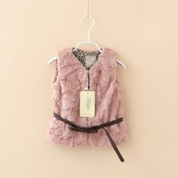 beige fur vest - New fashion child faux fur vest girl leopard lined outerwear princess bow belt vest kid winter ALL Match Waistcoats