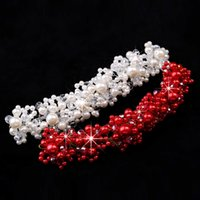 Wholesale Romantic In Stock Fashion Flowers shiny Crystal Pearls Crown Bridal Wedding Tiara Pearls Hair Accessories Head Pieces