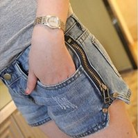 low rise jeans - 2015 NEW Spring and Summer Women s Short Jeans Zipper Shorts Hot Low rise Jeans Washed Blue Fashion Selling
