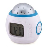 Wholesale LED Projection Digital Alarm Clock Thermometer Calendar Music Starry Star New