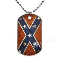 Wholesale In Stock Confederate Rebel Flag Flags Design Dog Tag Necklace Aluminum Tag for Animal Pets Tag Dropshipping Top Quality