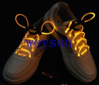 Wholesale DHL Freeshipping LED Optical Fiber Flashing Shoelaces Optical Fiber Glowing Light LED Shoelaces Glow Shoelaces