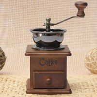 antique coffee makers - Hot Sale Retro design Mini Manual Coffee Mill Wood Stand Bowl Antique Hand Coffee Bean Grind As a Gift