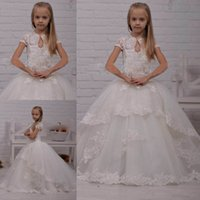 Wholesale 2015 Lace Ball Gowns Flower Girls Dresses Organza Cap Sleeves Floor Length Little Kids Formal Evening Gowns Custom Made