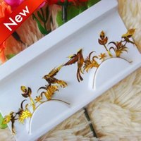 artistic eyeliner - Gold bird Addict Artistic eye mask Lace Face crystal eyeliner sticker false eyelashes