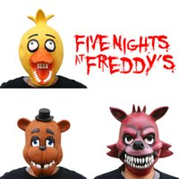 Wholesale Prettybaby five nights at freddy s Rubber Latex Mask Adult Novelty Fancy toys FNAF Freddy foxy chica figure For Halloween Christmas Pt0231