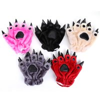 claw gloves - Plush Bear Paw Claw Gloves Novelty Halloween Soft Toweling Men Women Covered Cartoon Gloves Mittens Colors ANPT343