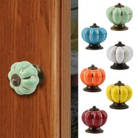 Wholesale 1pc Europe Ceramic Pumpkins Door Drawer Cabinet Cupboard Pull Handle Knob New