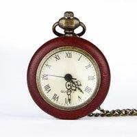 steampunk pocket watch - TF0019 New Steampunk Retro Archaize Wood Bronze Roman Number Pendant Mechanical Pocket Watch Men Women
