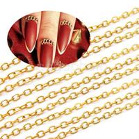 acrylic nail chains - Punk Gold Acrylic Tiny Line Design DIY Decoration Nail Art Tip Long Chain M