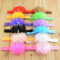Wholesale Fashion Baby Chiffon flower Lace headbands with crown for children girls infant hair accessories colors in stock