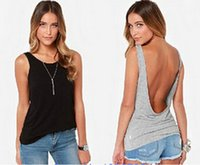 xxl wear - 2015 New Sexy Leak Back Vest Sleeveless Vest Cotton Vest Fashion Sexy Club Women s Large Size Outer Wear Vest Vest S XXL Black Gray