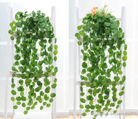 artificial plant suppliers - Artificial Silk Green Plants Hanging Scindapsus lvy Foliage Garland Flowers Plants Home and Garden Decorations Wedding Supplier High Quality