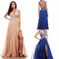 Wholesale Champagne Elegant Prom Gowns Sleeveless Beads Crystal Split Side Chiffon Floor Length V Neck A Line Evening Dress Bridesmaid Gowns Plus ZYY