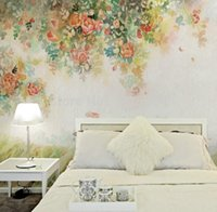Wholesale Great wall oil painting style d wall murals wallpaper d flower wallpaper wall murals for bedding room