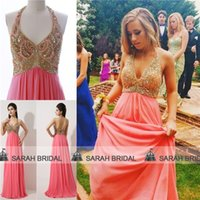 Halter coral for sale - Arabic Luxury Shimmering Crystals Sequins Pageant Dresses For Beauty Contest Women Cheap Hot Sale Coral halter Prom Evening Party Gowns