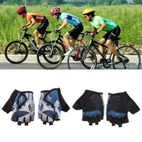Wholesale New Fashion GEL Cycling Half Finger Gloves Bike Bicycle Shockproof Sports Glove Super Abrasion Palm Material Blue M L XL