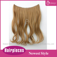 Wholesale Hot Sale New Style High Quality Halo Flip in Synthetic Hair extension for thin hair people inhc Meduim Golden Blonde g pc