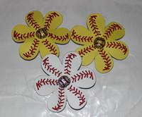 Cheap Free shipping New wholesale 2016 Real softall shades of Yellow hair bow with baseball embellishment Custom Real Baseball Hair bow